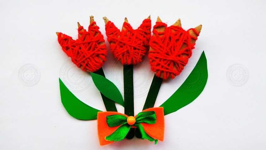 Как сделать цветы тюльпаны из картона, ниток и палочек — легкая инструкция для детей (10 фото + мастер-класс)