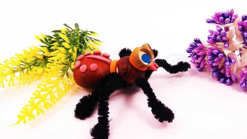 Поделка паук из каштанов и проволоки — инструкция для детей по созданию поделок из природных материалов (мастер-класс + фото)