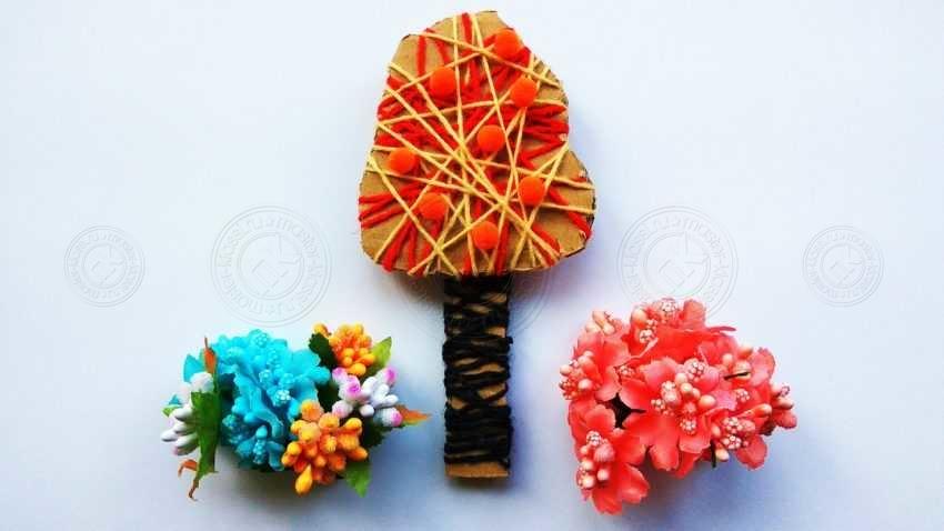 Осеняя поделка — дерево из картона и ниток: легкая инструкция для детей с пошаговым описанием и фото