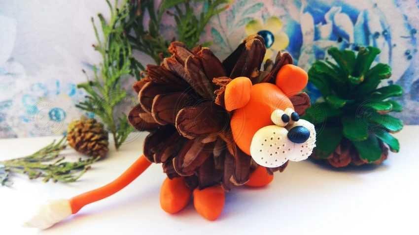 Поделка лев из шишки и пластилина своими руками — инструкция от А до Я (мастер-класс для детей)