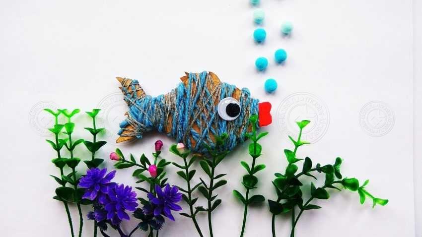 Поделка рыбка из картона и ниток своими руками: пошаговая инструкция (10 фото)