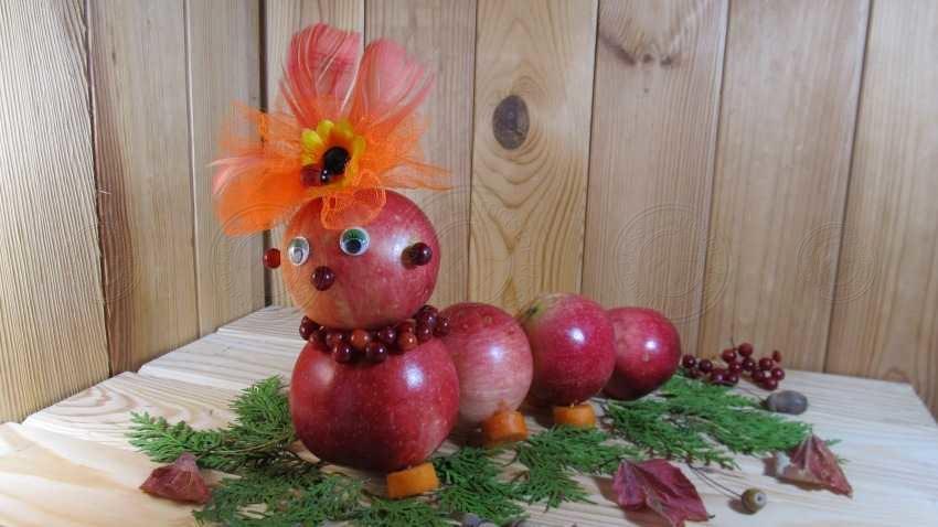 Поделка гусеница из яблок своими руками: простая инструкция, 20 фото, мастер-класс, новые идеи для поделок
