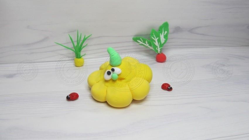 Патиссон из пластилина — поэтапная инструкция, с описанием. Легкий мастер-класс для детей по лепке овощей из пластилина