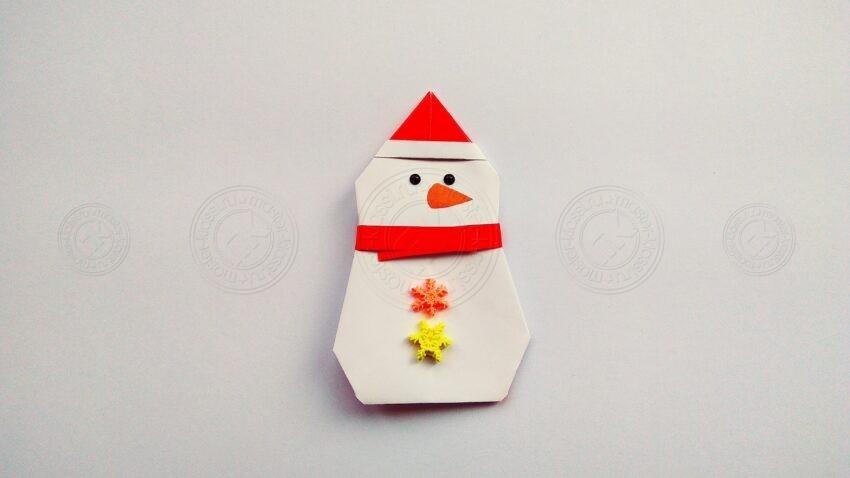 Снеговик оригами: пошаговая инструкция, как сложить красивого снеговика из бумаги своими руками