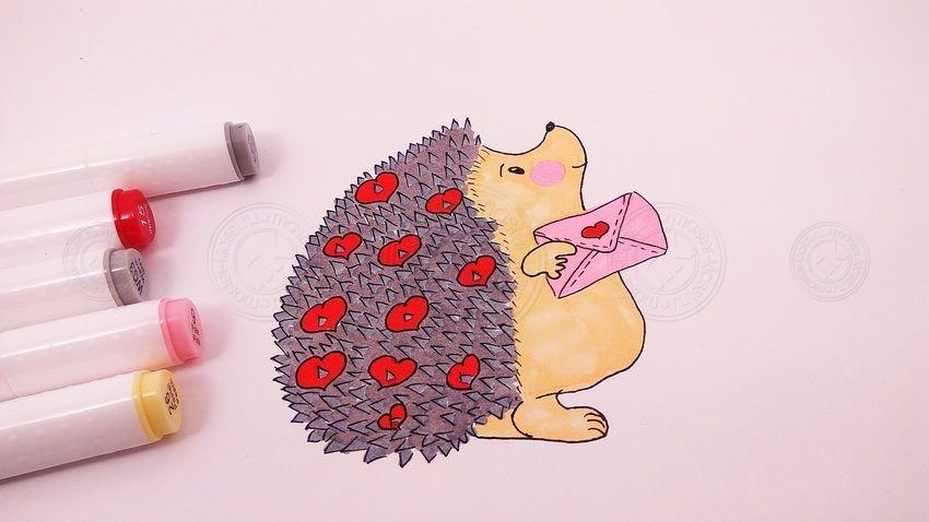 Как нарисовать влюбленного ежика своими руками: мастер-класс по рисованию для детей