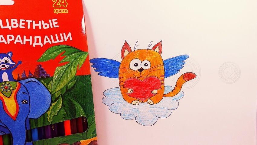 Как нарисовать котика с сердечком — простая инструкция для детей