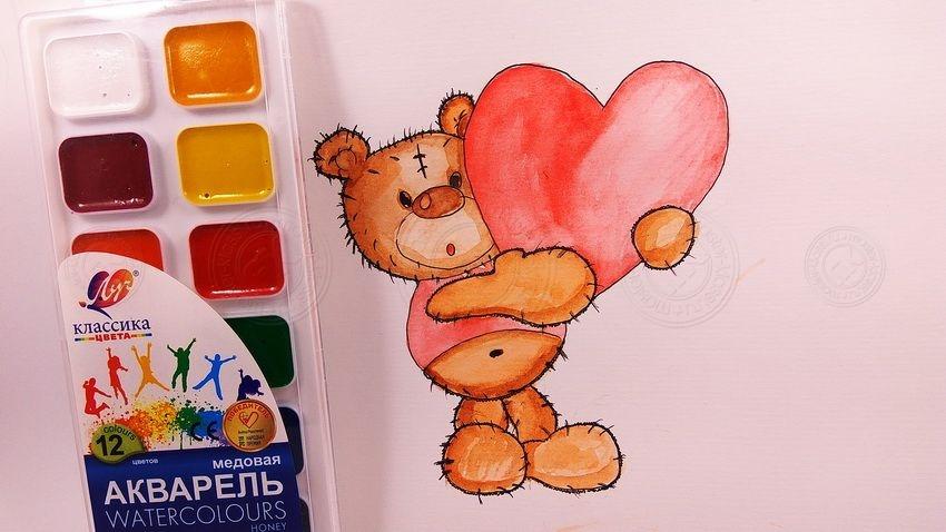 Как нарисовать мишку с сердечком — легкие и интересные уроки рисования для детей
